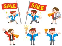 Male and female salesperson dressed in festival clothes. Vector illustration.Original paintings and drawing royalty free illustration