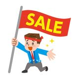 Male salesperson dressed in festival clothes. Vector illustration.Original paintings and drawing vector illustration
