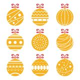Vector illustration of ornamental orange Christmas balls isolated on white. Royalty Free Stock Image