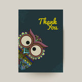 Vector illustration of ornamental owl. Bird illustrated in tribal. Royalty Free Stock Photo