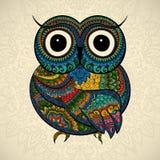 Vector illustration of ornamental owl. Bird illustrated in tribal. Vector illustration of owl. Bird illustrated in tribal.Owl whith flowers on light background Royalty Free Stock Photography