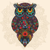 Vector illustration of ornamental owl. Bird illustrated in tribal Royalty Free Stock Photo