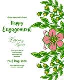 Vector illustration ornate design roses flower frame for invitation of happy engagement vector illustration