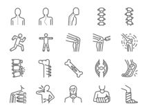 Orthopedics line icon set. Included the icons as osteoarthritis, medical rehab, plantar fasciitis, back injuries, Fracture and mor. Vector and illustration stock illustration