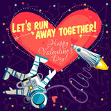Vector illustration about outer space for Valentines day. Stock Photo