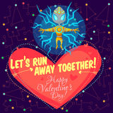Vector illustration about outer space for Valentines day. Stock Images