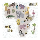 Cute Africa Vector Set stock illustration