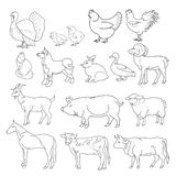 Vector illustration of outline figures of farm animals. Animals in line style on white background. vector illustration
