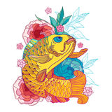 Vector illustration with outline golden koi carp and pink chrysanthemum or dahlia isolated on white. Japanese ornate fish. stock illustration
