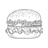 Vector illustration of outline hamburger with beef, tomatoes, lettuce, onion and sesame seed isolated on white background. Stock Photo