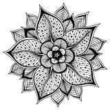 Vector illustration of outline Mandala for coloring book. Hand-sketched flower Stock Photo