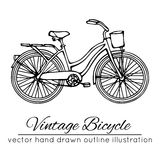 Vector illustration of outline vintage bicycle Stock Photos
