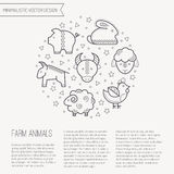 Vector illustration with outlined farm animals icons forming a circle Royalty Free Stock Photos
