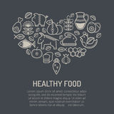 Vector illustration with outlined food icons  forming a heart shape Stock Photo