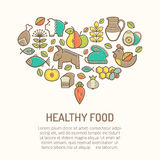 Vector illustration with outlined food icons forming a heart shape. Vector illustration with outlined healthy food icons in creative ethnic style. Nutritional vector illustration