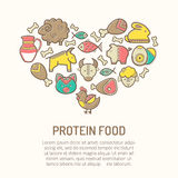 Vector illustration with outlined food icons forming a heart shape. Vector illustration with outlined protein food icons in creative ethnic style. Nutritional vector illustration
