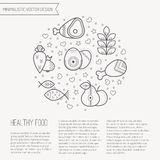 Vector illustration with outlined Healthy food icons forming a circle royalty free illustration