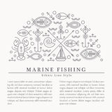 Vector illustration with outlined nautical and fishing signs forming a half-circle royalty free illustration