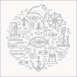 Vector illustration with outlined nautical icons forming a circle vector illustration