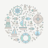 Vector illustration with outlined nautical seafaring signs and marine animals Royalty Free Stock Photos