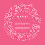 Vector illustration with outlined nautical signs and marine animals Stock Photo