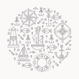 Vector illustration with outlined seafaring and nautical signs Stock Images