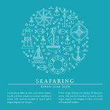 Vector illustration with outlined seafaring and nautical signs Stock Photos
