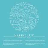 Vector illustration with outlined signs of marine animals forming a circle Stock Image