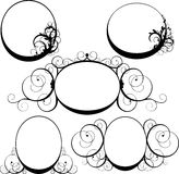 Vector illustration of oval frame with swirls Stock Photography