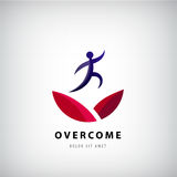 Vector illustration on overcoming challenging problems and adversity in business concept. Overcome logo, jumping man from one side to other, success, winner vector illustration