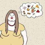 Vector illustration of an, overweight woman. Vector illustration of a female character, overweight woman choosing between healthy food and fast-food with Stock Photography