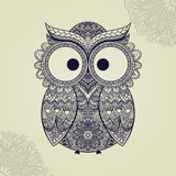 Vector illustration of owl. Bird illustrated in tribal.Owl whith Stock Image