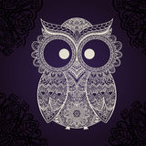 Vector illustration of owl. Bird illustrated in tribal. Shaped owl Royalty Free Stock Photo