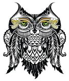 Vector illustration of owl. Bird illustrated in tribal Stock Photography