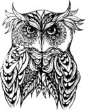 Vector illustration of owl in black and white. stock illustration