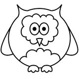 Vector illustration of owl. Black and white outlined illustration of owl. Vector Royalty Free Stock Images