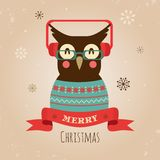 Vector Illustration of Owl, Merry Christmas Card Stock Image