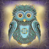 Vector illustration of owl and ornamental background Royalty Free Stock Photography