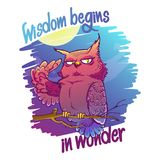 Night owl illustration with quote `wisdom begins in wonder`. royalty free illustration