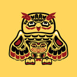 North american native art, owl. Vector illustration of an owl, stylization of Native North American art.  Single component of a totem in black, white, red, and Royalty Free Stock Photo