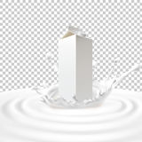 Vector illustration of packing of tetra pack with milk standing in the center of a dairy splash. Vector illustration of a packing of tetra pack with milk Stock Image