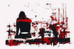 Vector illustration, paint, girl sitting back, red black gamma,. The picture Royalty Free Stock Photography
