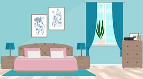 Bedroom interior. Vector illustration. Vector illustration. Painted in shape royalty free illustration
