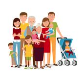 Big family. Vector illustration. Painted in shape royalty free illustration