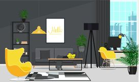 Black interior with a yellow armchair and a working place by the window. Vector flat illustration. Vector illustration. Painted in shape royalty free illustration