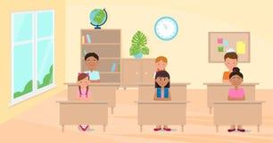 Cartoon, vector illustration with children in school classroom. Vector illustration. Painted in shape vector illustration