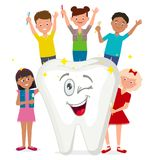 A cheerful poster about oral hygiene. Children brush their teeth. Vector illustration. Painted in shape royalty free illustration