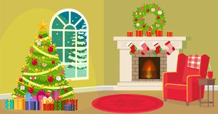 Christmas living room. Vector illustration. Painted in shape stock illustration