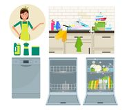 Dishwasher, kitchen faucet and housewife. Vector flat illustration. Vector illustration. Painted in shape royalty free illustration