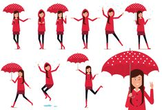 The girl in the rain. Vector illustration. Painted in shape stock illustration